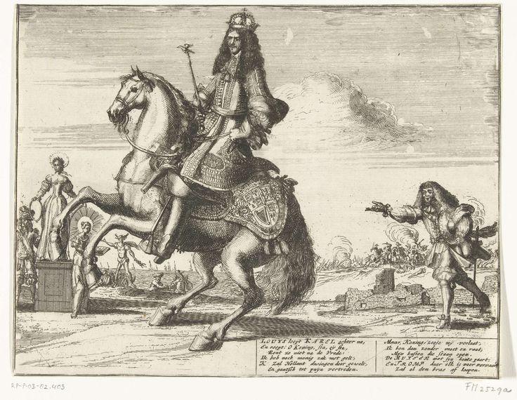 Anonymous | Spotprent op de pogingen van Frankrijk om de vredeshandel van Engeland met de Republiek te verhinderen, 1674, Anonymous, 1674 | Spotprent op de pogingen van Frankrijk om de vredeshandel van Engeland met de Republiek te verhinderen, 1674. Koning Karel II van Engeland te paard, rechts loopt de Franse koning Lodewijk XIV beladen met geldzakken hem achterna. Links de Vrede op een voetstuk staande tussen een krijgsman en Godsdienst. Met twee verzen van 6 regels in de plaat.
