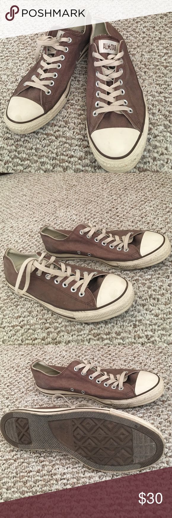 Converse All Star (low tops). Brown converse size 11. The style is vintage brown. Worn 3 times! Converse Shoes Athletic Shoes