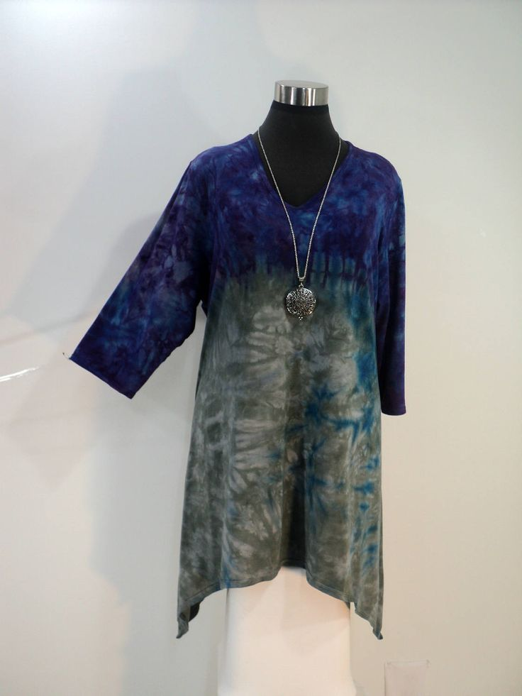 Plus size 2X purple and grey tie dye tunic top with V-neck and 3/4 sleeves in bamboo blend fabric. by qualicumclothworks on Etsy