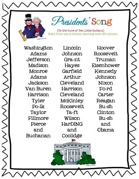 "Presidents List printable (song sung to the tune of ""Ten Little Indians"")"