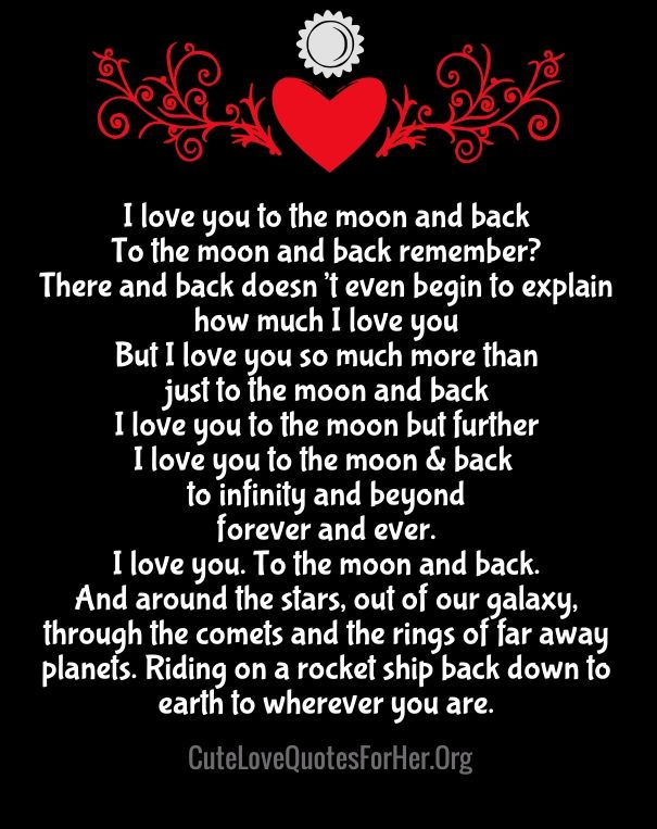 I Love You To The Moon And Back Poem To The Moon Quotes