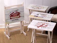 Seaside Condo Beach House Folding TV Tray Set of 4 With Stand Weathered Decor