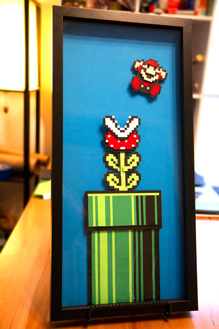 Mario piranha plant super mario 3 paper 8 bit art for 3d decoration games