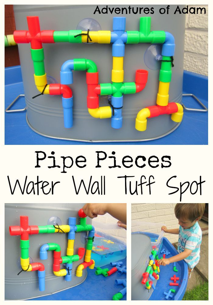 Create a Water Wall Tuff Spot using Pipe Pieces. Easy to set up and great for preschoolers to form their own DIY water wall.  | http://adventuresofadam.co.uk/water-wall-tuff-spot/