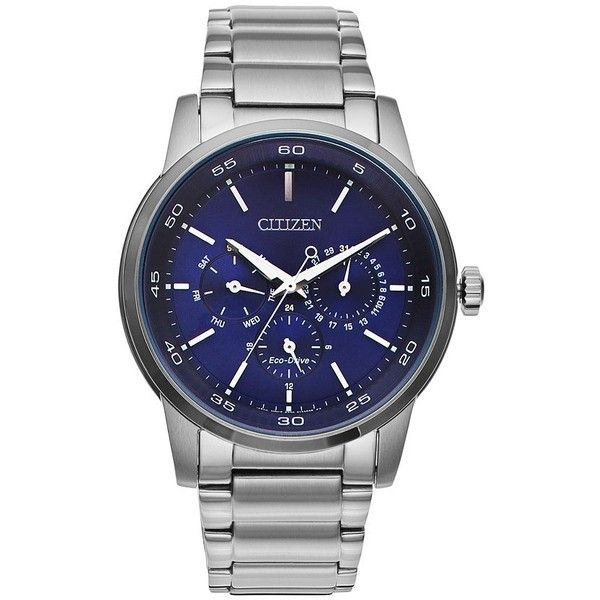 Citizen Men's Eco-Drive Stainless Steel Watch ($300) ❤ liked on Polyvore featuring men's fashion, men's jewelry, men's watches, silver, blue dial mens watches, mens watches, citizen mens watches, mens watches jewelry and citizen eco drive mens watches