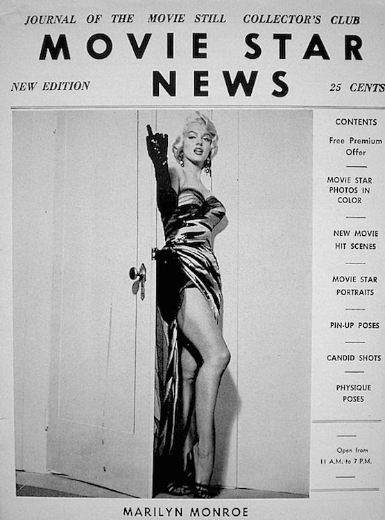 """Movie Star News - 1955, magazine from USA. Journal of The Movie Still Collector's Club. Front cover publicity photo of Marilyn Monroe for """"The Seven Year Itch, 1955."""