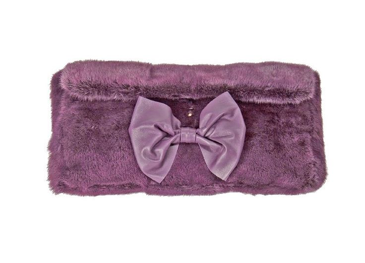 Borsa pochette visone color viola chiusura a calamita Fiocco in nappa tasca interna con zip e porta cellulare Mod Pochette Dimensioni cm. 44x24x8