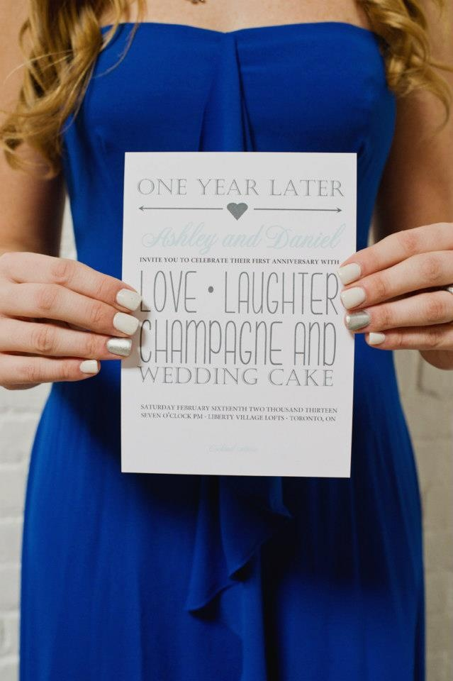 One Year Later One Year Anniversary Invitation love laughter