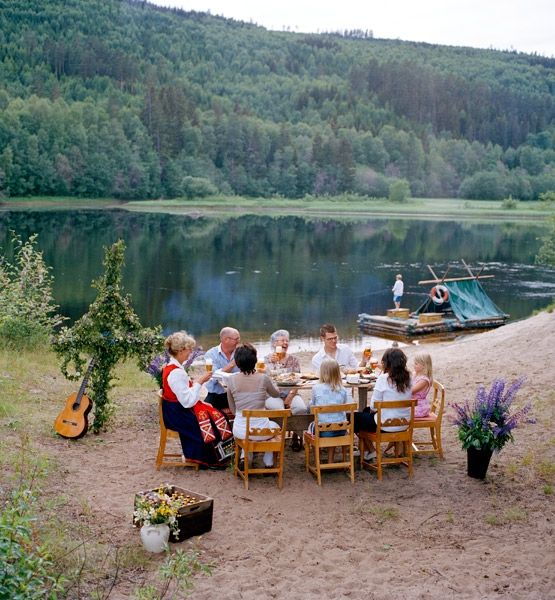 Midsummer....the day that never ends. It's celebrated with bonfires, outdoor festivals, singing, dancing and food.