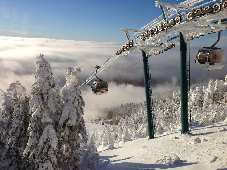 Above the clouds at Mont-Tremblant - The gondolas atop Mont Tremblant Ski Resort #Tremblant