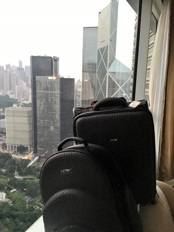 Sam's LAT_56 RW_01 Road Warrior and BP_01 Backpack in Hong Kong's Island Shangri-La Luxury Hotel.