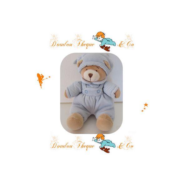 Doudou hochet ours beige salopette vichy bleu NICOTOY