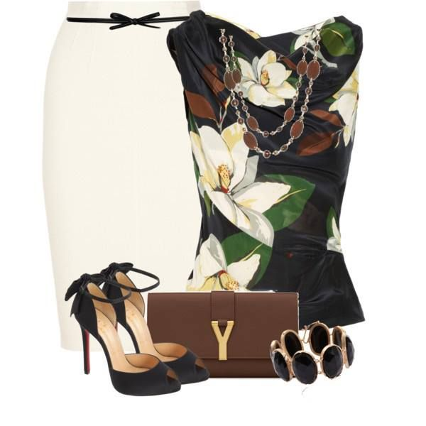 Beautiful magnolia inspired blouse with white pencil skirt and black stiletto ankle straps