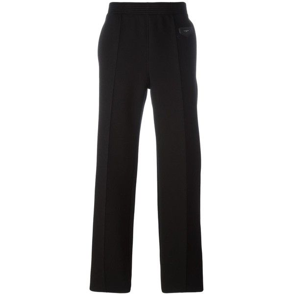 Givenchy straight leg trousers (€855) ❤ liked on Polyvore featuring men's fashion, men's clothing, men's pants, men's casual pants, black, mens sport pants, mens elastic waistband pants and mens sports pants