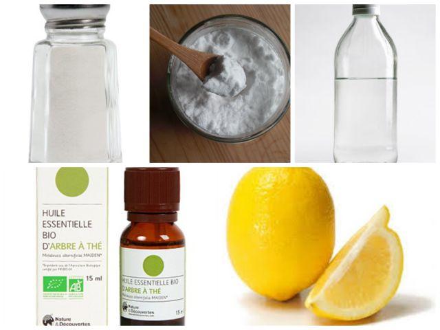 5 produits naturels pour le ménage: sel, bicarbonate de soude, vinaigre blanc, huile essentielle d'arbre à thé, citron