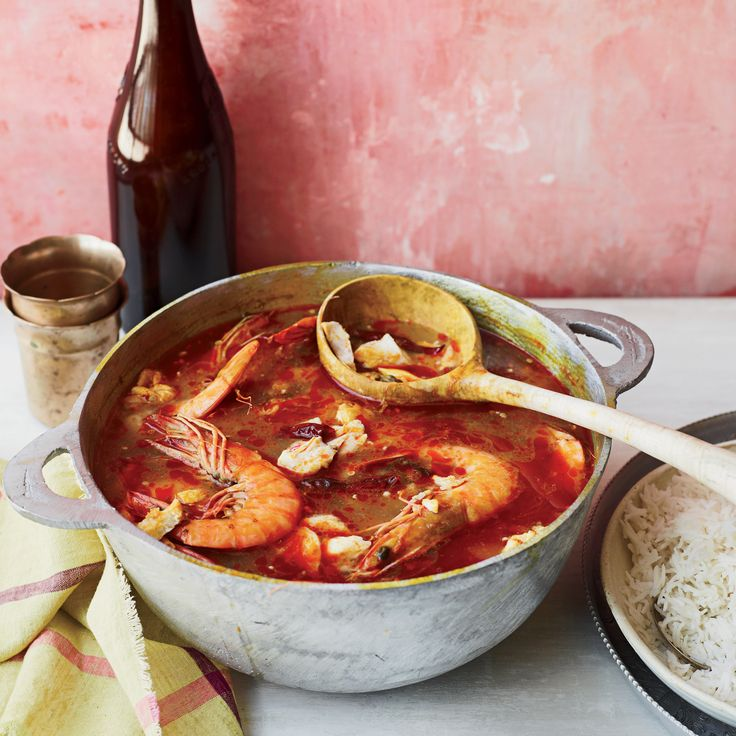 This delicious, untraditional gumbo uses dende (palm) oil, dried shrimp and fish sauce for a rich and satisfying dish.