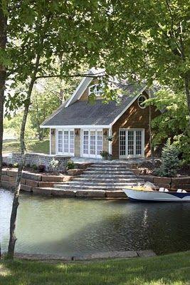 Love the New England style shingles and the steps down to the water - picturesque.