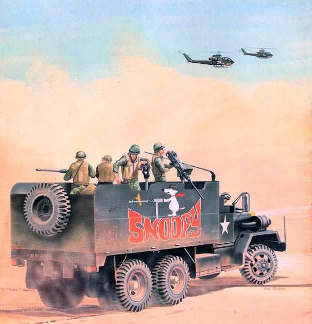 """Snoopy, moves out of the 8th Transportation Group motor pool at Qui Nhon to take up position at the lead of another convoy on Route 19"""
