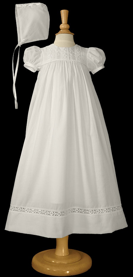 Cotton Christening Gown W/Cutwork Lace $80