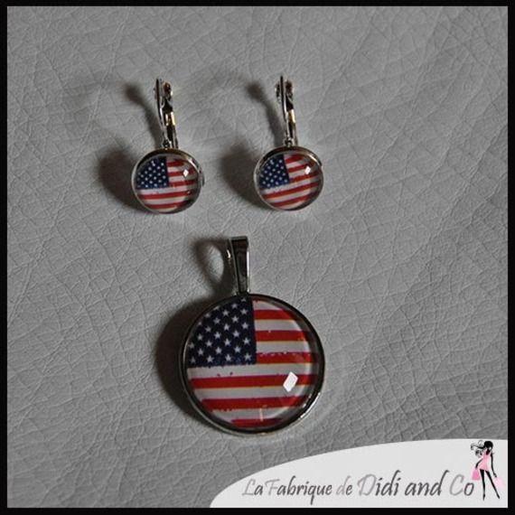 Parure un pendentif et une paire de boucles d'oreilles drapeau américain Pendentif 25mm de diamètre cabochon en verre Boucles d'oreilles avec cabochons de 12mm