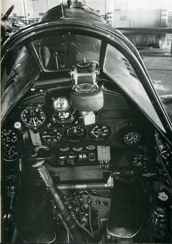 "The cockpit of an Italian fighter Macchi MC.202 ""Folgore"" (Lightning)."