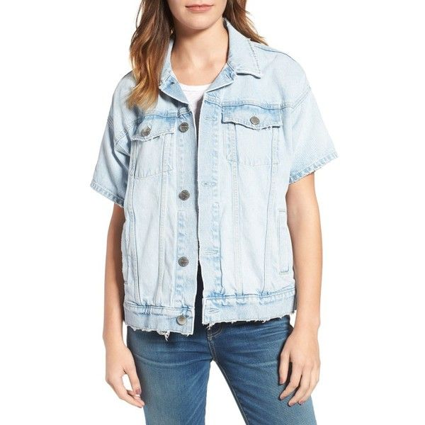 Women's Current/elliot The Rolled Sleeve Trucker Denim Jacket ($338) ❤ liked on Polyvore featuring outerwear, jackets, alta destroy, distressed jean jacket, short sleeve crop jacket, cropped denim jacket, short sleeve jean jacket and jean jacket