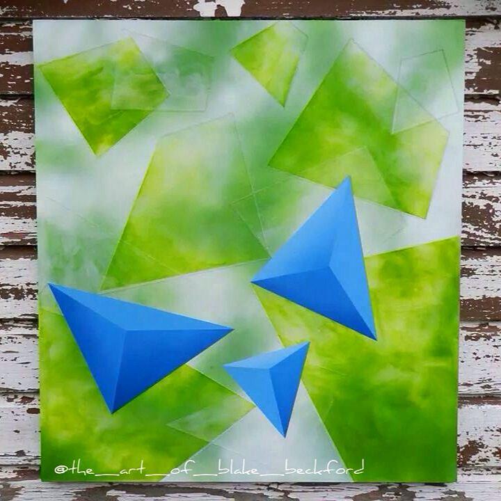 """Three"" by Blake Beckford 2014. Acrylic on board. SOLD. #art #artist #paint #painting #acrylic #3d #green #blue Www.facebook.com/blakebeckfordart"