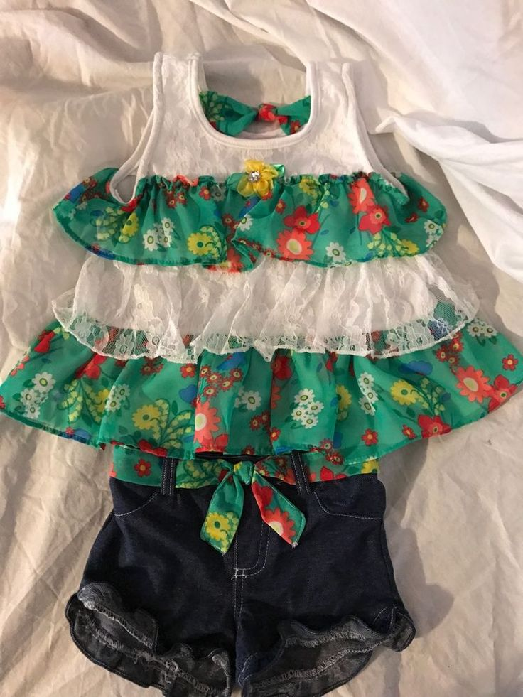 Nanette 5t Adorable Outfit.. Shirt And Matching Shorts Green Layered Shirt #Nannette