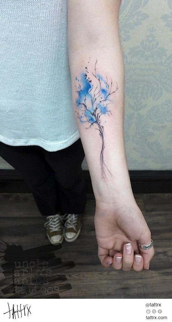 Arlin Ffrench Tattoo - Simple Blue Tree tattrx.com/artists/arlin-ffrench