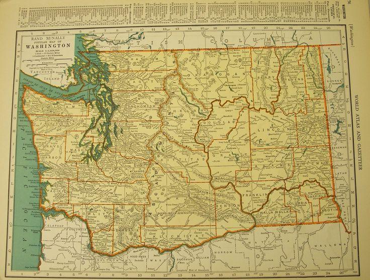 Virginia Washington State 1939 Antique Vintage Color Map: Vintage State Maps At Codeve.org