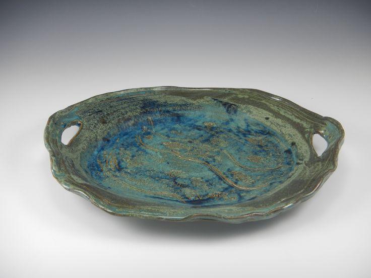 """Jade Green """"Undulations"""" Platter — Mimi Stadler Pottery"""