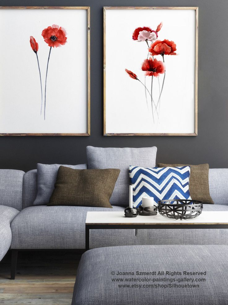 Poppies Set Of 2 Art Prints Floral Garden Watercolor Painting Living Room Wall Decor