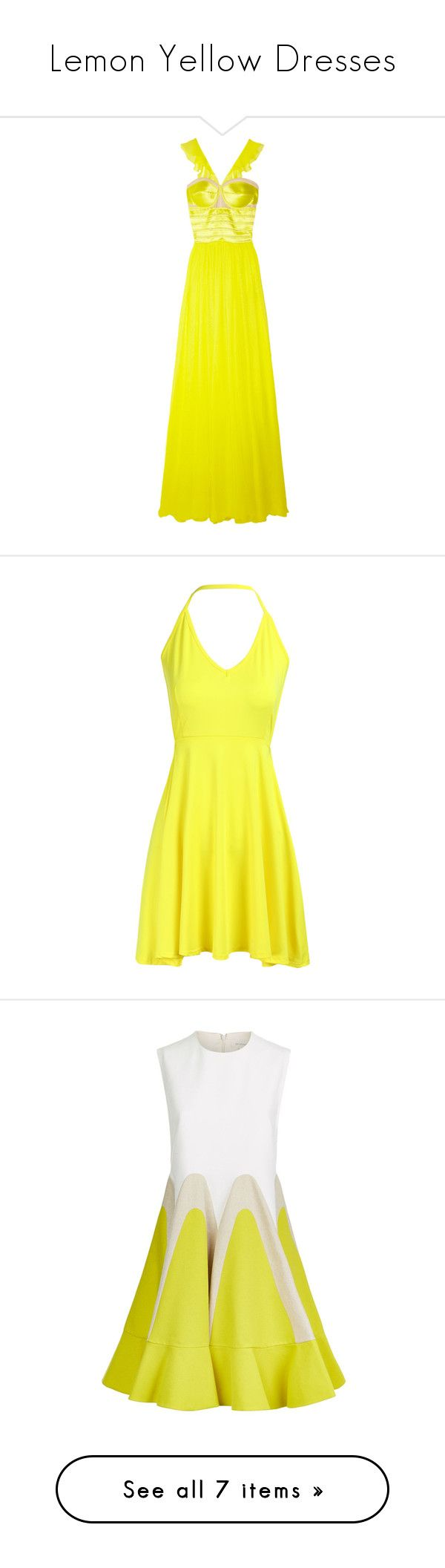 """Lemon Yellow Dresses"" by tegan-b-riley on Polyvore featuring dresses, gowns, satin corset, satin dress, satin evening gown, neon yellow dress, sheer dress, yellow, sexy yellow dress and sexy short cocktail dresses"
