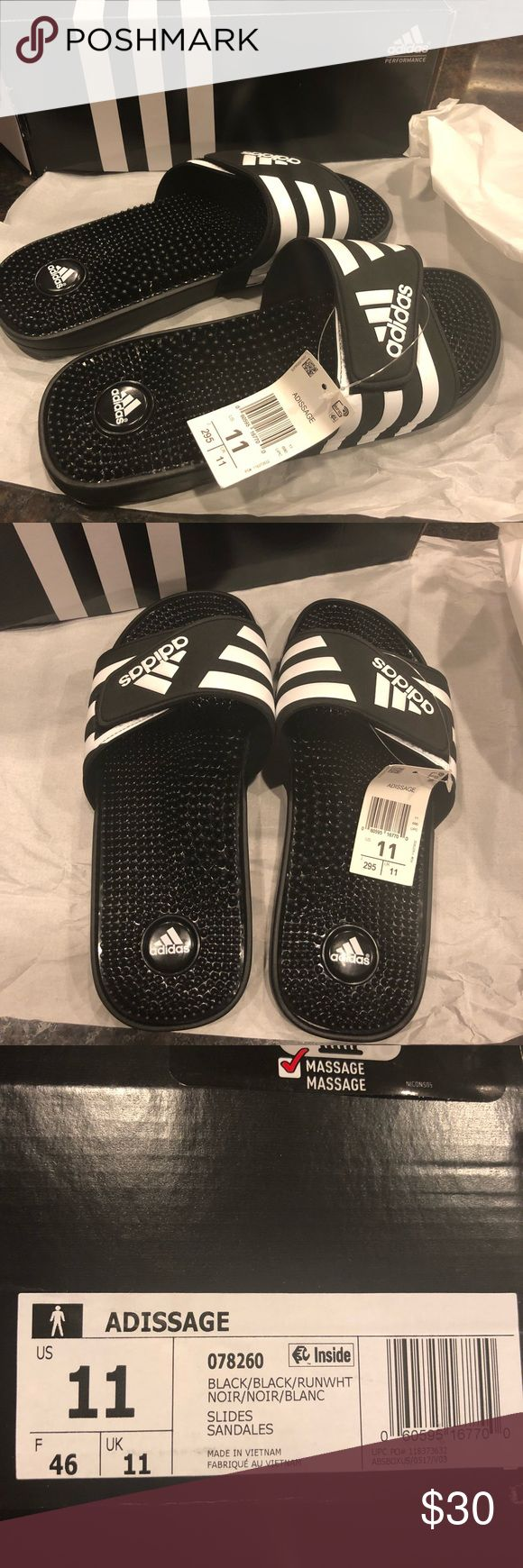 Adidas men's Slides Brand new in box, never worn.  Men's size 11 black Adidas Adidasage Slides Great for a Christmas present!    Adidas slip ons slippers sandals flip flops adidas Shoes Sandals & Flip-Flops