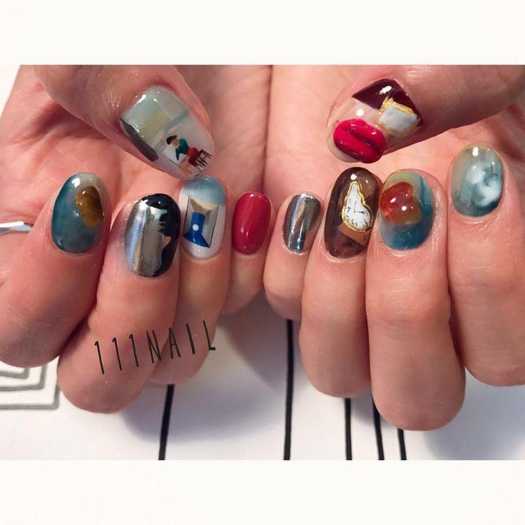 Salvador Dalí の世界観をテーマに▪️▫️▪️◾️ #nail#art#nailart#ネイル#ネイルアート #SalvadorDalí #ダリ展#絵画ネイル#手書きアート#ilustration#paint#ショートネイル#paint#nailsalon#ネイルサロン#表参道#絵画ネイル111 #手書きアート111