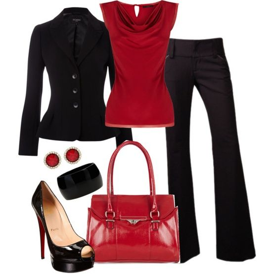 Red and Black Workday - Click image to find more Women's Fashion Pinterest pins
