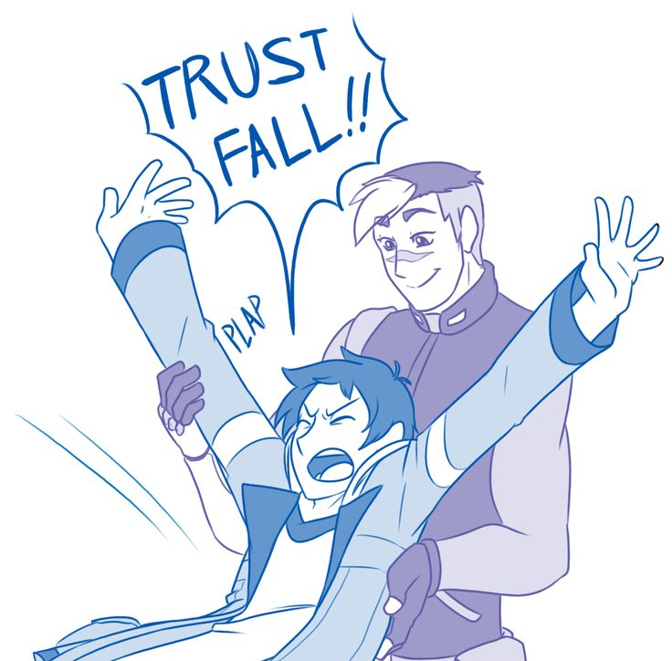 """Trust Falls #4 - by sunset-spring: """"So after reading this list of headcanons, I couldn't get the image of Lance and the Trust Falls out of my head because it was so amusing. So I took some time to draw the scenario out the way it played in my head. Also I'm really happy with how I drew Shiro. I think my favoritism managed to seep in, which I personally have no complaints about."""""""