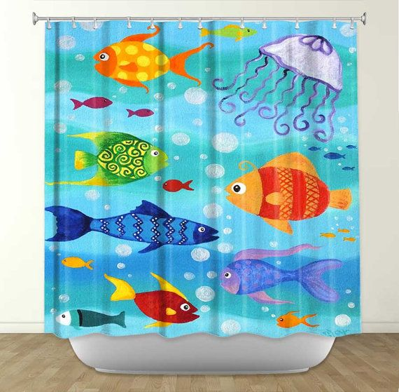 Shower Curtain Hy Fish Bathroom Decor Theme Bath For Kids