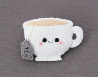 Teacup Felt Brooch, White, Tea, Cute Brooch, Teabag