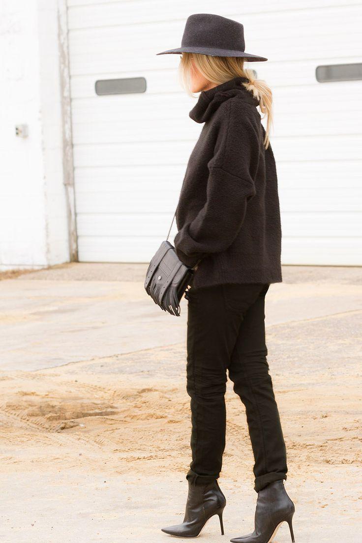 Charcoal Range Fedora and Proenza fringe bag on The Boyish Girl