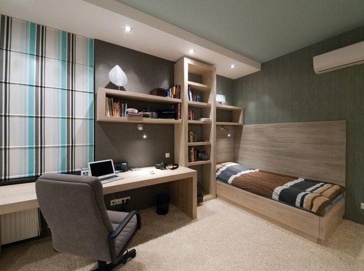 quarto de solteiro simples masculino com home office planejado