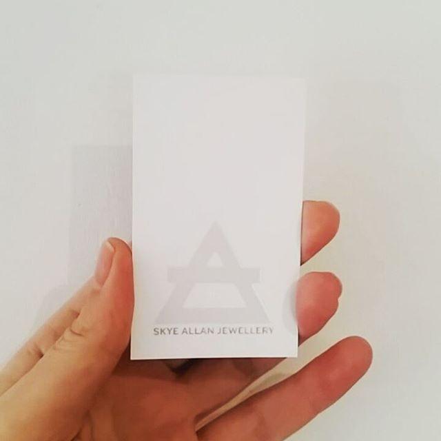 Logo & makers mark on business card with spot gloss. Skye Allan Jewellery