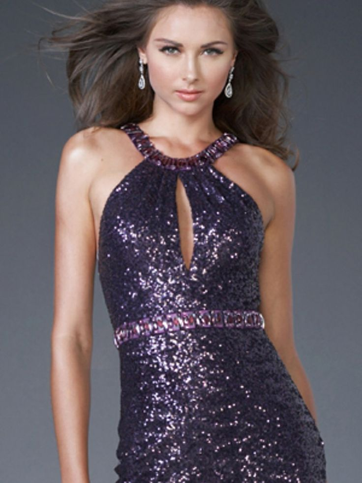 purple dresses with bling around the neck | Purple Sequined Halter Rhinestone Neckline Fitted Bodice Mini Skirt ...