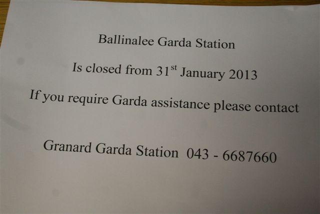 Closure of Ballinalee Garda Station in 2013