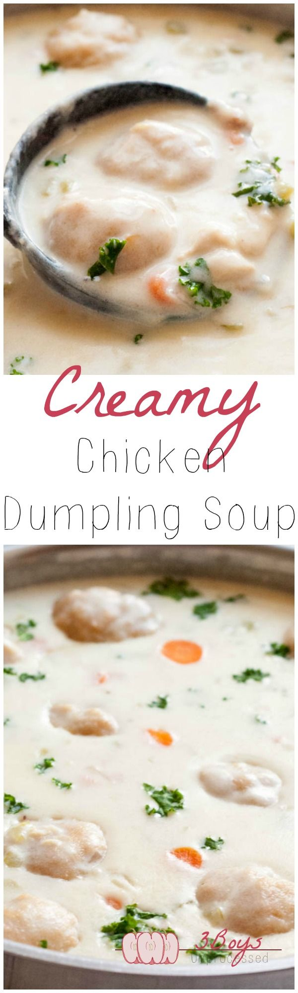 EASY and comforting Creamy Chicken and Dumpling Soup, 100% from scratch. Great for chilly fall evenings and snow days! || www.3boysunprocessed.com