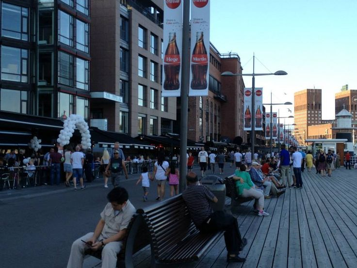 Restaurants, shops at waterfront promenade — in Oslo, Norway.