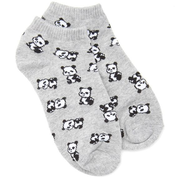 FOREVER 21 Panda Ankle Socks ($1.50) ❤ liked on Polyvore featuring intimates, hosiery, socks, panda, short socks, panda socks, patterned hosiery, tennis socks and forever 21
