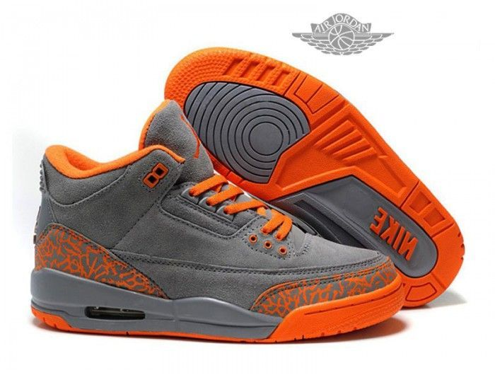 huge selection of bc9cc 5e634 femme air jordans 3 iii fluff gris orange