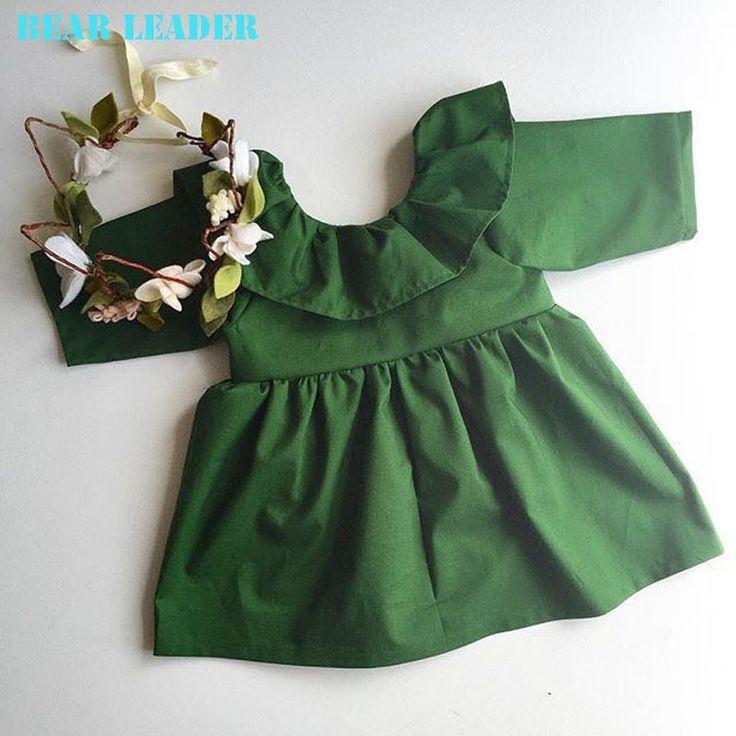 Лидер медведь 2016 Весной и Осенью детская одежда девушки способа платье пачка платье девушки древесины ухо Европа партия зеленых платье 1 4Y купить на AliExpress