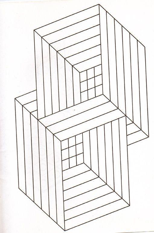 Free coloring page coloring-illusion-optic-squares. Interlocking Squares